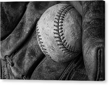 Baseball Black And White Canvas Print by Garry Gay