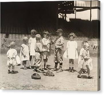 Baseball: Boys And Girls Canvas Print by Granger