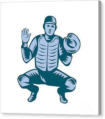 Baseball Catcher Gloves Woodcut Canvas Print