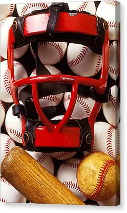 Stitching Canvas Print - Baseball Catchers Mask And Balls by Garry Gay