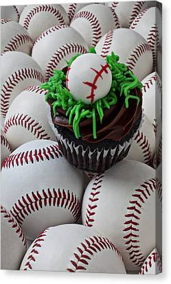 Foodstuffs Canvas Print - Baseball Cupcake by Garry Gay