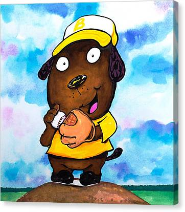 Scott Nelson Canvas Print - Baseball Dog 2 by Scott Nelson