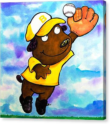 Scott Nelson Canvas Print - Baseball Dog 4 by Scott Nelson