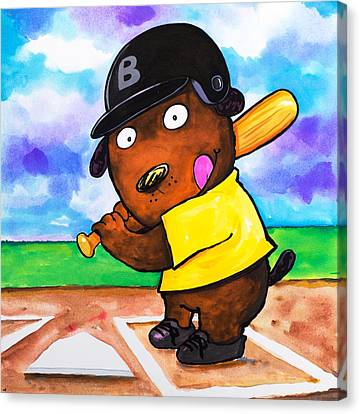 Scott Nelson Canvas Print - Baseball Dog by Scott Nelson