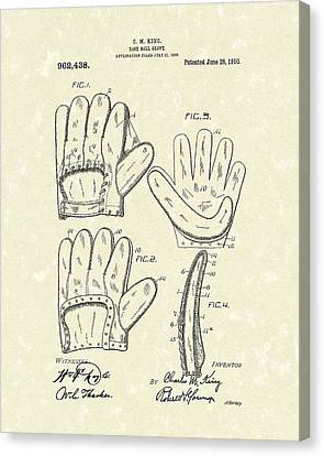 Baseball Glove 1910 Patent Art Canvas Print