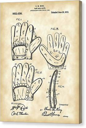 Batter Canvas Print - Baseball Glove Patent 1909 - Vintage by Stephen Younts