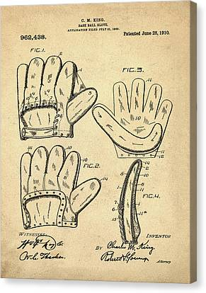 Baseball Glove Patent 1910 Sepia Canvas Print by Bill Cannon