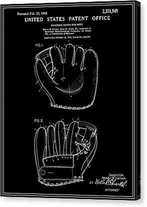 Baseball Glove Canvas Print - Baseball Glove Patent - Black by Finlay McNevin