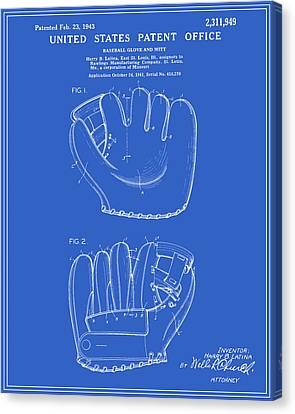 Baseball Glove Canvas Print - Baseball Glove Patent - Blueprint by Finlay McNevin