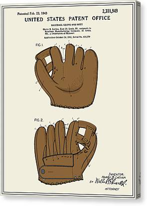 Baseball Glove Canvas Print - Baseball Glove Patent - Colour by Finlay McNevin