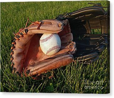 Baseball Glove Canvas Print - Baseball Gloves After The Game by Anna Lisa Yoder