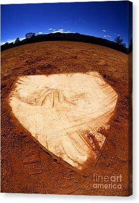 Baseball Home Plate Dark Dirt Canvas Print by Lane Erickson