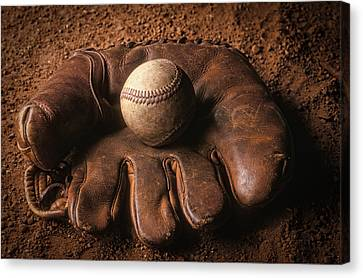 Baseball Glove Canvas Print - Baseball In Glove by John Wong