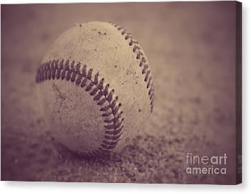 Baseball In Sepia Canvas Print
