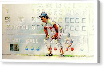 Jerry Remy At 2nd Base Canvas Print by David Kelley