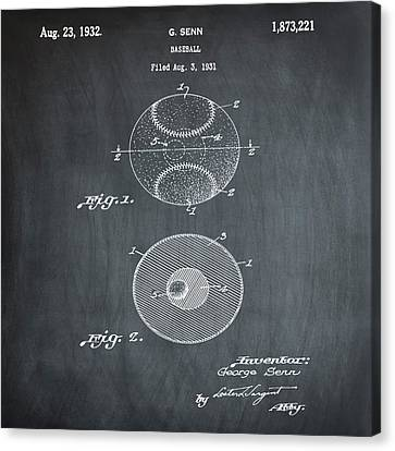 Baseball Patent 1832 In Chalk Canvas Print by Bill Cannon