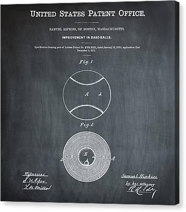 Baseball Patent 1876 Chalk Canvas Print by Bill Cannon