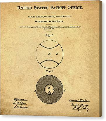 Baseball Patent 1876 In Sepia Canvas Print by Bill Cannon