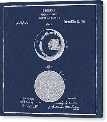 Baseball Patent 1916 Blue Canvas Print by Bill Cannon