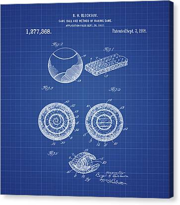 Baseball Patent 1918 In Blueprint Canvas Print by Bill Cannon