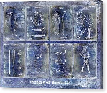 Baseball Patent History Blue Canvas Print by Jon Neidert
