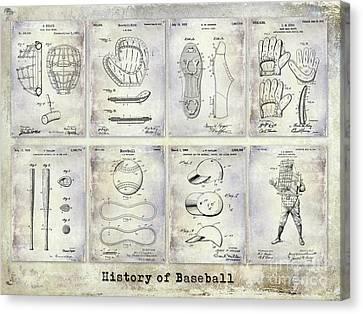 Baseball Patent History Canvas Print by Jon Neidert