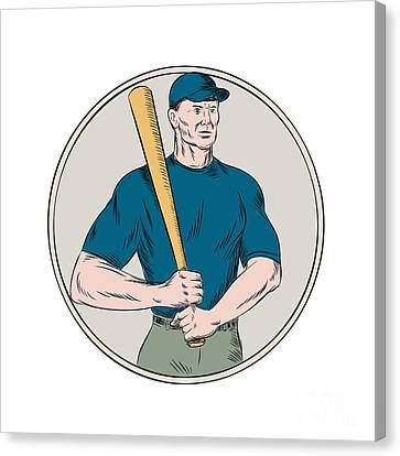 Batter Canvas Print - Baseball Player Batter Holding Bat Etching by Aloysius Patrimonio