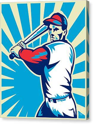 Baseball Player Batting Retro Canvas Print by Aloysius Patrimonio