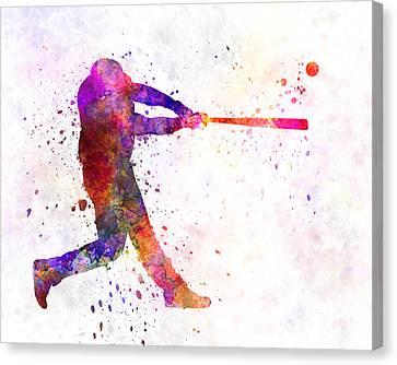 Baseball Canvas Print - Baseball Player Hitting A Ball 01 by Pablo Romero