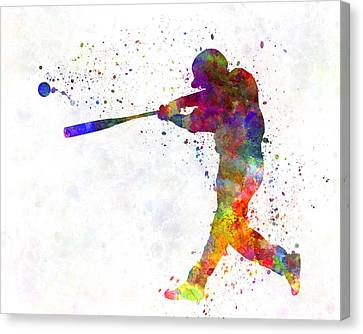 Baseball Canvas Print - Baseball Player Hitting A Ball 02 by Pablo Romero