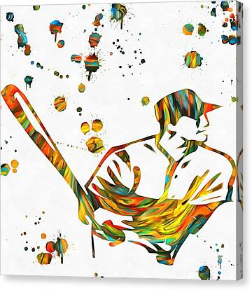 Baseball Player Paint Splatter Canvas Print by Dan Sproul