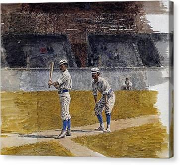 Baseball Canvas Print - Baseball Players Practicing by MotionAge Designs
