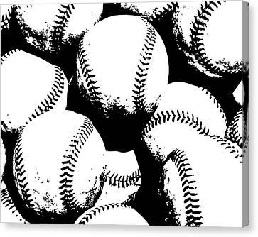 Baseball Poster Black White Canvas Print by Flo Karp