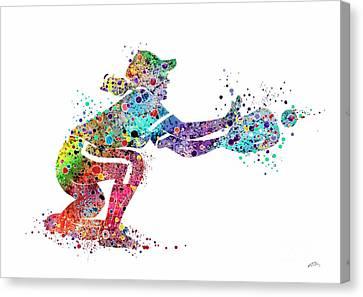 Baseball Softball Catcher 2 Sports Art Print Canvas Print by Svetla Tancheva
