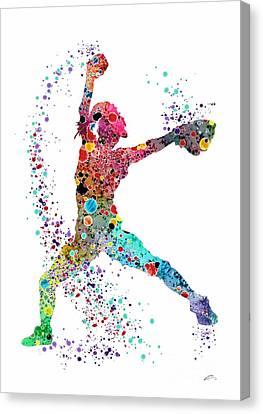 Baseball Art Canvas Print - Baseball Softball Pitcher Watercolor Print by Svetla Tancheva