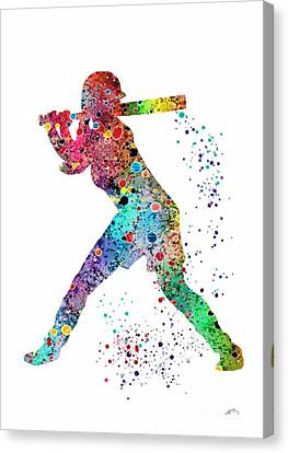 Baseball Softball Player Canvas Print by Svetla Tancheva