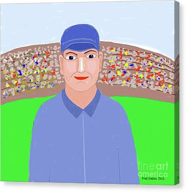 Baseball Star Portrait Canvas Print by Fred Jinkins