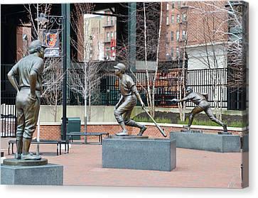 Baseball Statues At Camden Yards - Baltimore Maryland Canvas Print by Bill Cannon