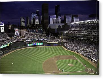 Canvas Print featuring the photograph Baseball Target Field  by Paul Plaine