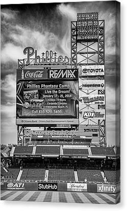 Citizens Bank Park Canvas Print - Baseball Time In Philly - Bw by Stephen Stookey