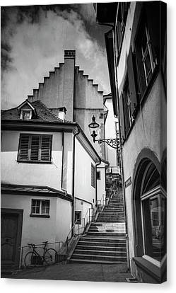 Streetlight Canvas Print - Basel Old Town In Black And White  by Carol Japp
