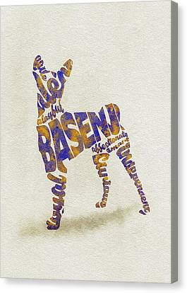 Canvas Print featuring the painting Basenji Dog Watercolor Painting / Typographic Art by Inspirowl Design