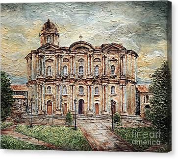 Canvas Print featuring the painting Basilica De San Martin De Tours by Joey Agbayani