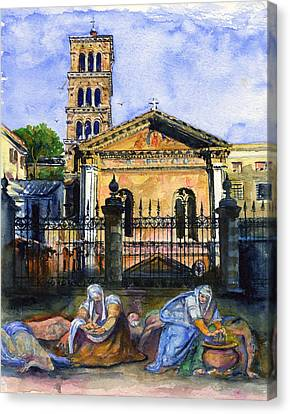 Basilica Di Pudenziana Canvas Print by John D Benson