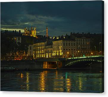 Basilica Notre Dame De Fourviere From Across The Rhone River Canvas Print by Allen Sheffield