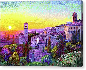 Yellow Building Canvas Print - Basilica Of St. Francis Of Assisi by Jane Small
