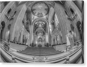 Basilica Of The National Shrine Main Altar Bw Canvas Print by Susan Candelario