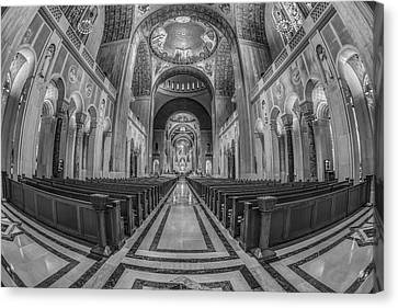 Basilica Of The National Shrine Of The Immaculate Conception Bw Canvas Print by Susan Candelario