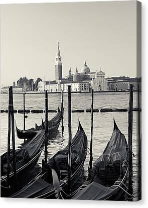 Canvas Print featuring the photograph Basilica San Giorgio Maggiore And Gondolas by Richard Goodrich