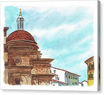 Canvas Print featuring the painting Basilica San Lorenzo Florence Italy by Irina Sztukowski
